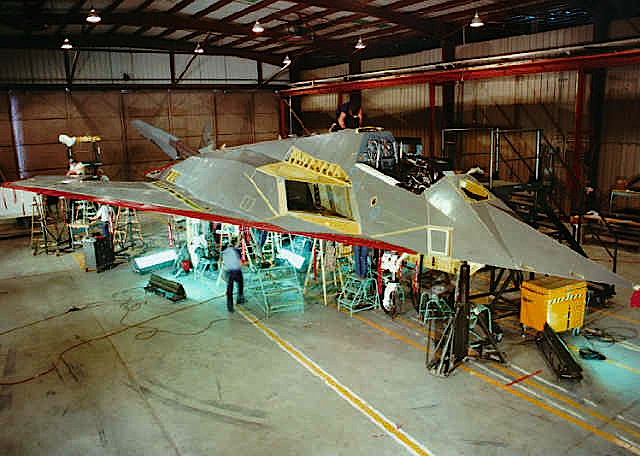 f117 different model inside reassembly area at area 51 ufo contact