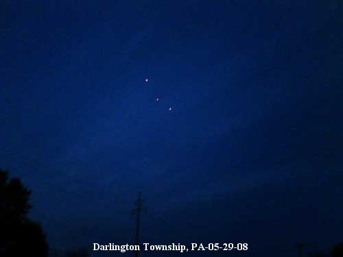 3 UFO lights Antigravity Propulsion System - Triangle Lights in the Sky Aliens - Darlington Township, PA - 05/29/2008
