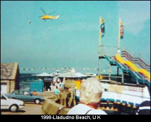 Silver UFO Orb Grey Aliens DNA Hybrids spotted near Helicopter - Lladudno Beach, UK, 1998
