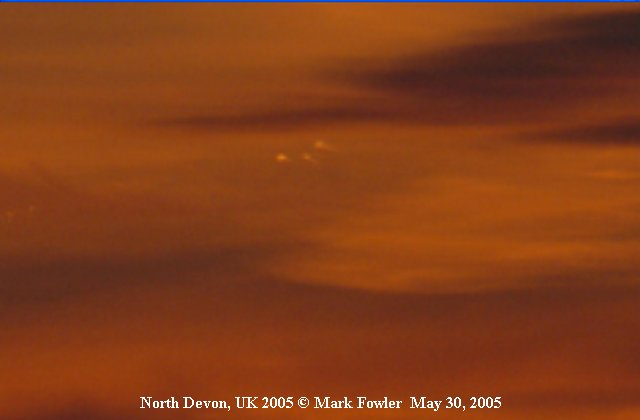 3 UFOs triangle shape TR-3B Top Secret Aircraft - North Devon, UK, May 30, 2005