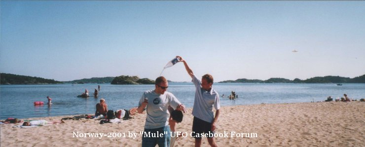 Silver Disc UFO spotted in beach photo - Norway 2001