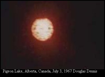 UFO Glowing Orb Orange Fire in the Sky - Pigeon Lake, Alberta, Canada 1967