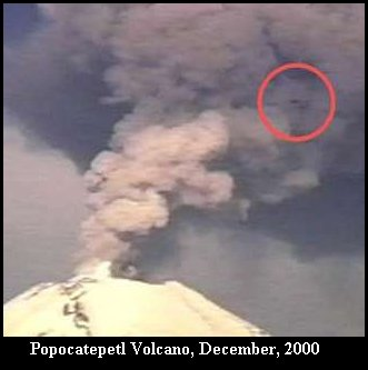 UFO near Erupting Volcano - Popocatepetl Volcano, December 2000