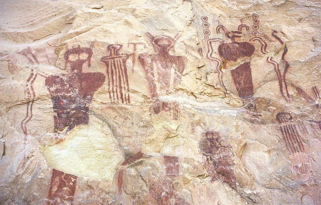 Ancient alien visitation - sego canyon, utah - aboriginal ufo cave art