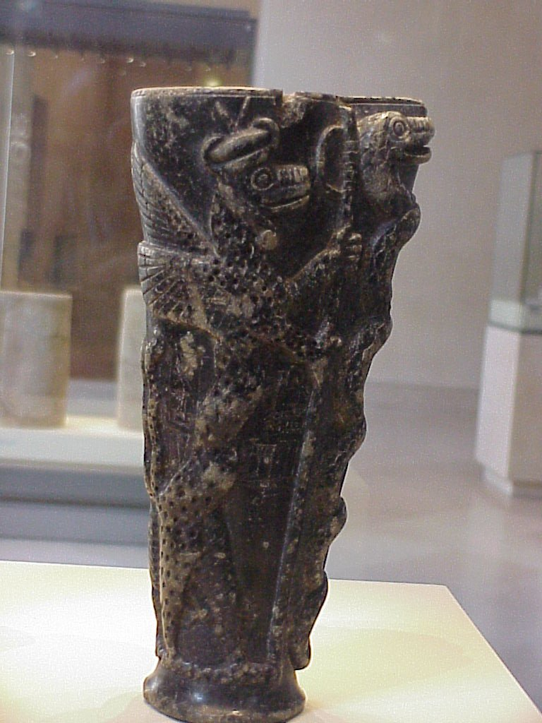 Akkadian Epic of Gilgamesh, 5th king of the 1st Dynasty of Erech after the Flood - Sumerian ritual cup