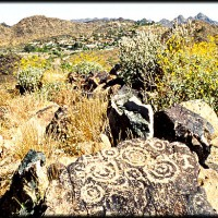 Ancient Hohokam spiral petroglyphs decorate a basalt boulder on Shaw Butte in Phoenix Arizona1 200x200 Ancient Spirals