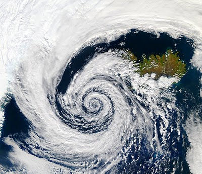 Hurricane over Iceland