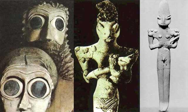 Risultati immagini per Sumerian Anunnaki sculptures Hybrid Aliens DNA Reptilian Statues