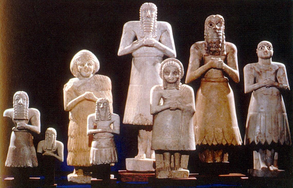 Normal Looking Sumerian Statues - compare to reptilian statues