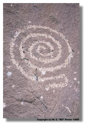 Ancient Spiral Petroglyph in Desert