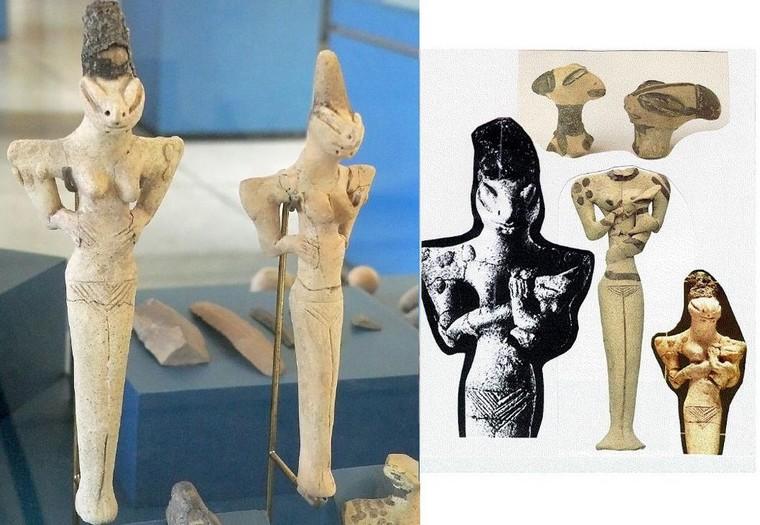 Sumerian Anunnaki sculptures Hybrid Aliens DNA Reptilian Statues
