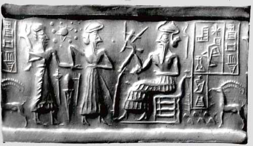 Ur-Nammu (seated) bestows governorship on Ḫašḫamer, patesi (high priest) of Iškun-Sin - ca. 2100 BC