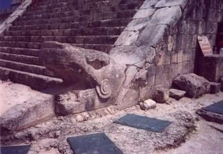 head of serpent column Mayan