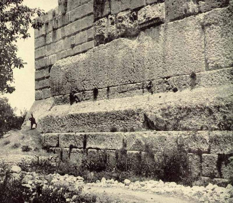 Baalbek Old Photo of Ancient Stone Megalith Foundations