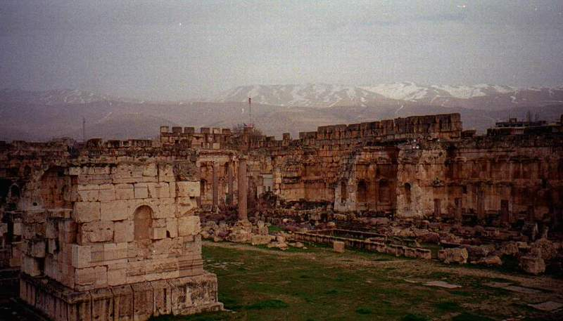 City of Baalbek Ruins overlooking the Mountains