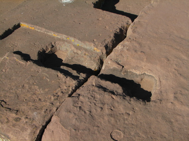 Cuts in Stone used for placing metal brace holding them together - Pumapunku
