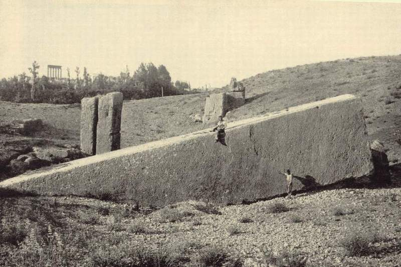 Old Photo Baalbek Giant Megalith