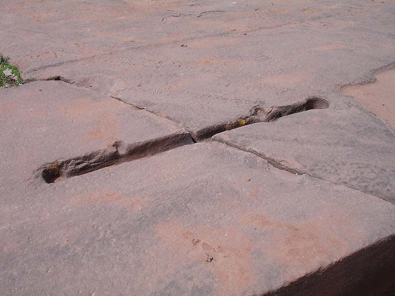 Pumapunku Cut Rocks held together by binding