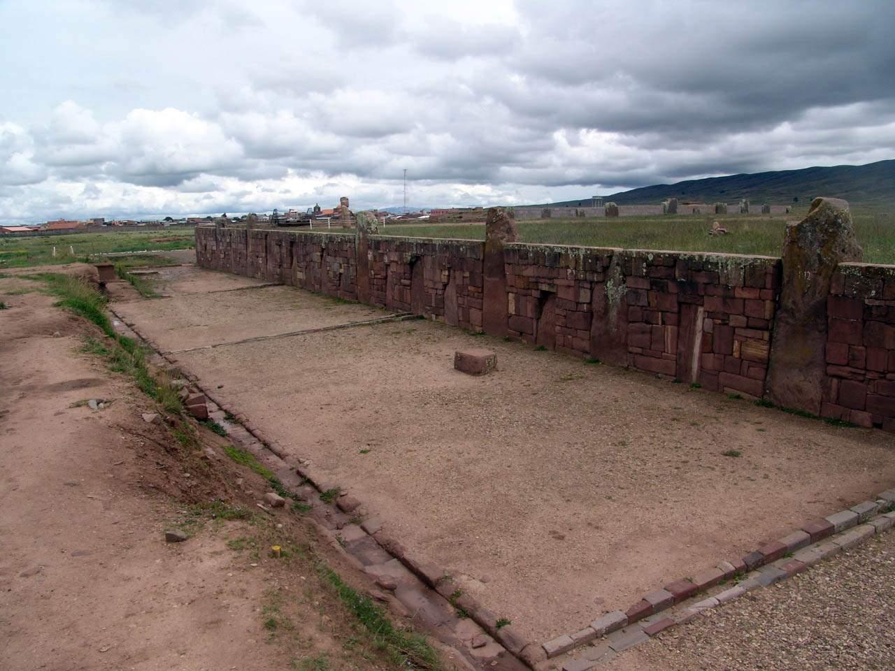 stone walls of Tiwanaku megalithic Akapana Pyramid