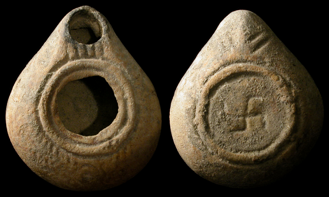 Ancient Swastika on Lamp