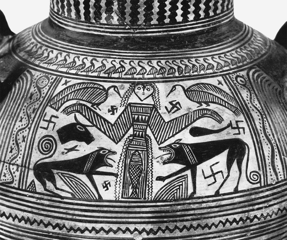 Ancient Vase 1D Potnia Theron with Swastika Symbols