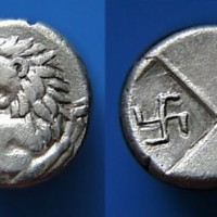 Ancient greek coin hemidrachm swastika 200x200 Ancient Swastika