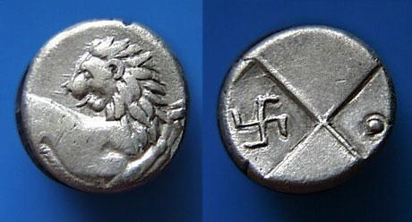 Ancient greek coin hemidrachm swastika