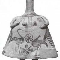 Circe Artemis as a bell shaped goddess with a double swastika flanked by long necked birds a comb pattern and a double axe. Crete circa 900 B.C. 200x200 Ancient Swastika