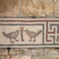 Fifth c. Mosaic of two doves and a swastika at the Beiteddine Palace. 200x200 Ancient Swastika