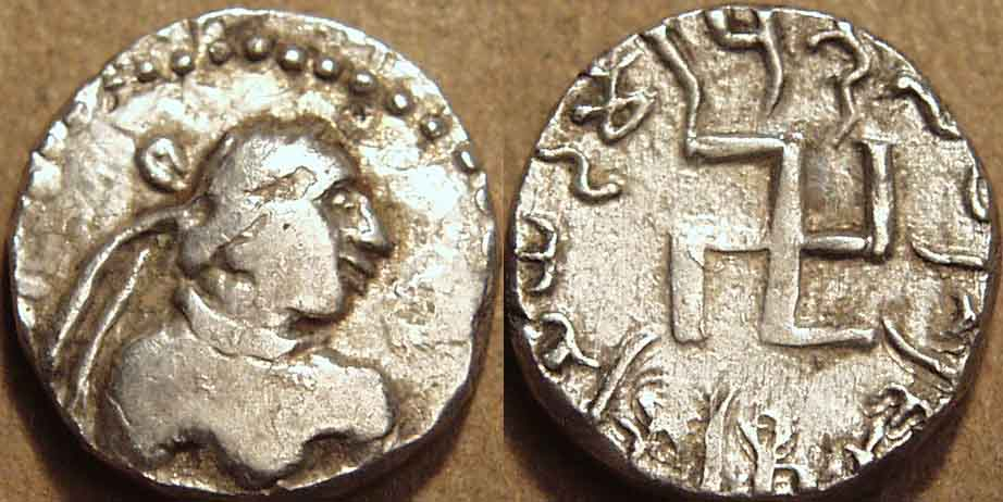 Hvaramira, silver drachm, c. 165-175 CE with Swastika Symbols