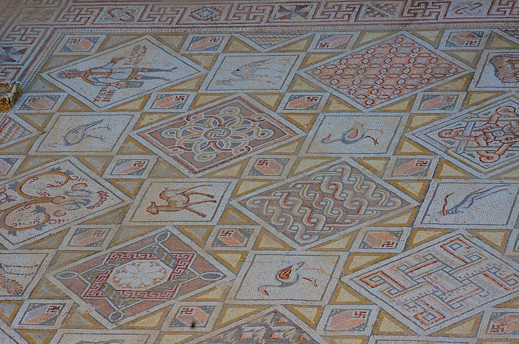Mosaic at Church of St. George, Jerash with Swastika Symbols