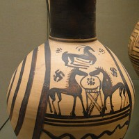 Oinochoe jug with scene of 2 horses facing each other across a tripod with a goat above Athens 735 700 BC 200x200 Ancient Swastika