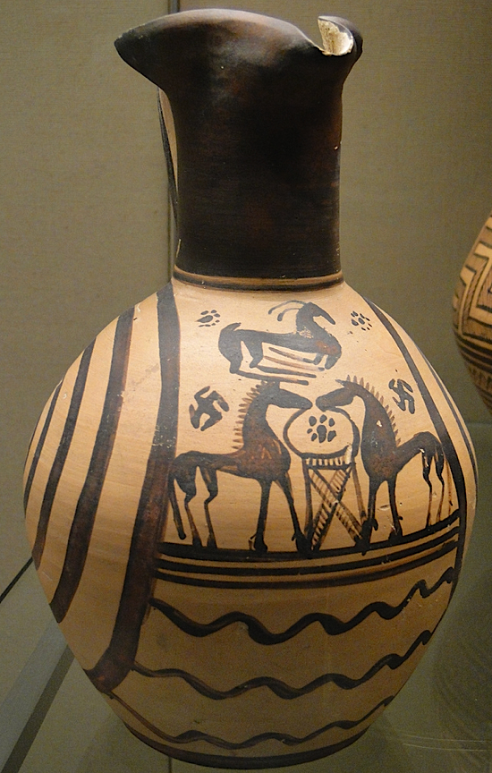 Swastikas on Oinochoe (jug) with scene of 2 horses facing each other across a tripod with a goat above, Athens, 735-700 BC