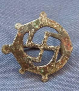 Roman Bronze Swastika Brooch