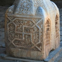 Swastica on Pedestal of a column in Khan 200x200 Ancient Swastika